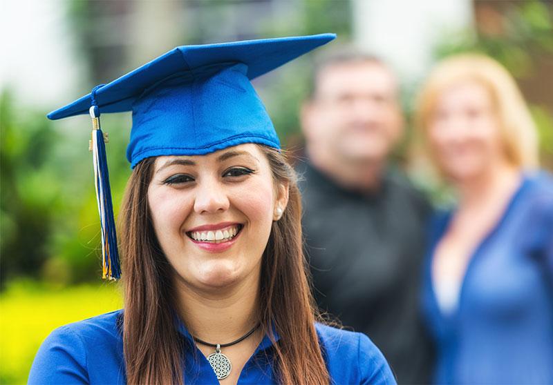 proud daughter at graduation